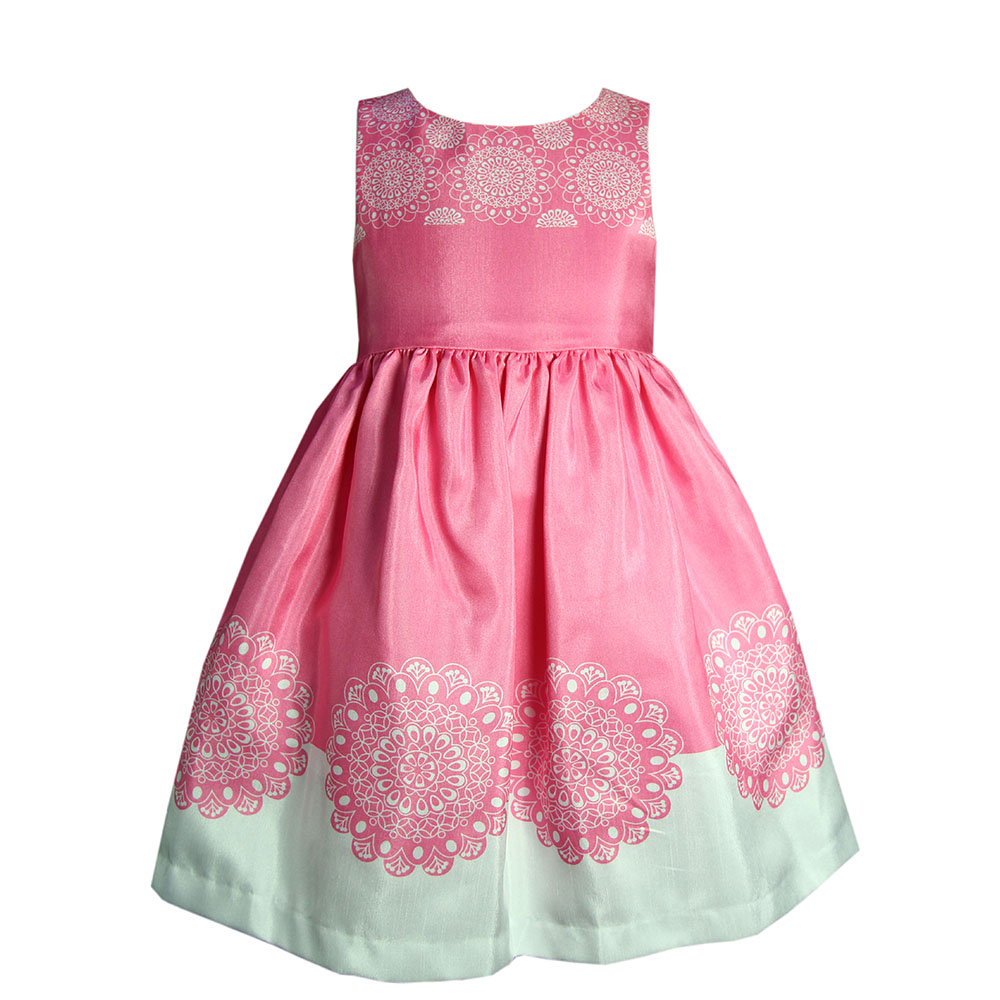 pink kids clothes girl fancy frocks pageant dresses with print sweep