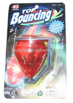 Flashing Spin Top Bounce Top,Plastic spinning top toys with flashing light foe kids