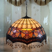 "20"" wide gorgeous flower tiffany design pendant lamp with bead curtains"