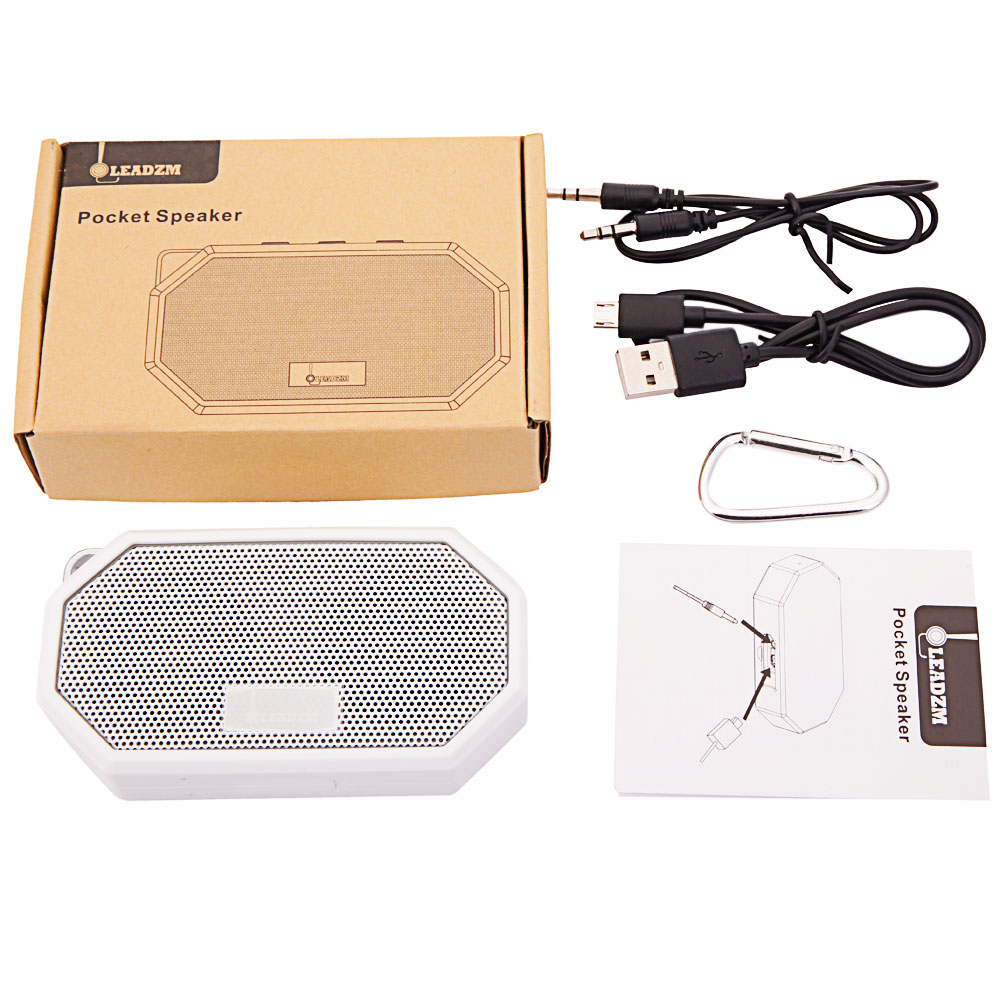 Leadzm Portable Pocket Waterproof Shockproof Wireless Bluetooth <strong>Speaker</strong> with Mic CSR V4.0 White