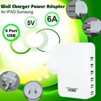 White 6A 6 Port USB Portable Home Travel Wall Charger AC power adapter universal cell phone battery charger For samsung