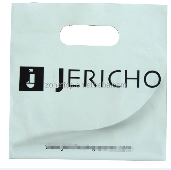 Wholesale Biodegradable Custom Logo Printed White Die Cut Handle Ldpe Hdpe PE Shopping Bag