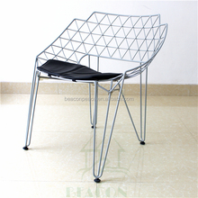 2016 China cheap price modern diamond mesh metal wire dining chair