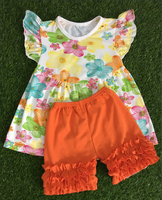 Remake boutique Girl Suit Outfits Child Suit Kids Sets Girls Outfits Fashion flower top icing shorts kid sets