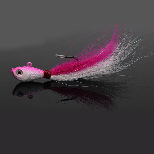 China supply saltwater jig fishing lure bucktail jig head hook
