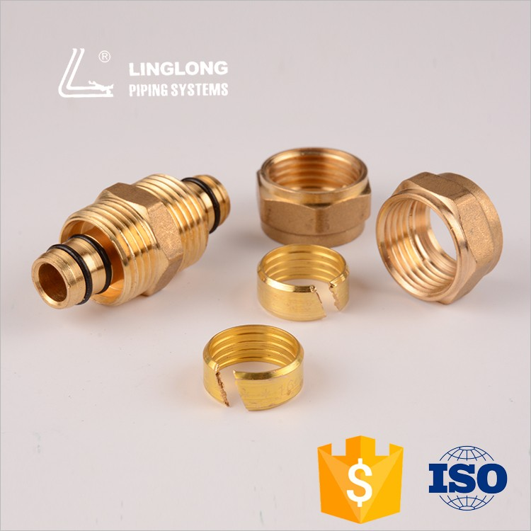 ISO9001 brass pipe fittings compression fitting equal adapter