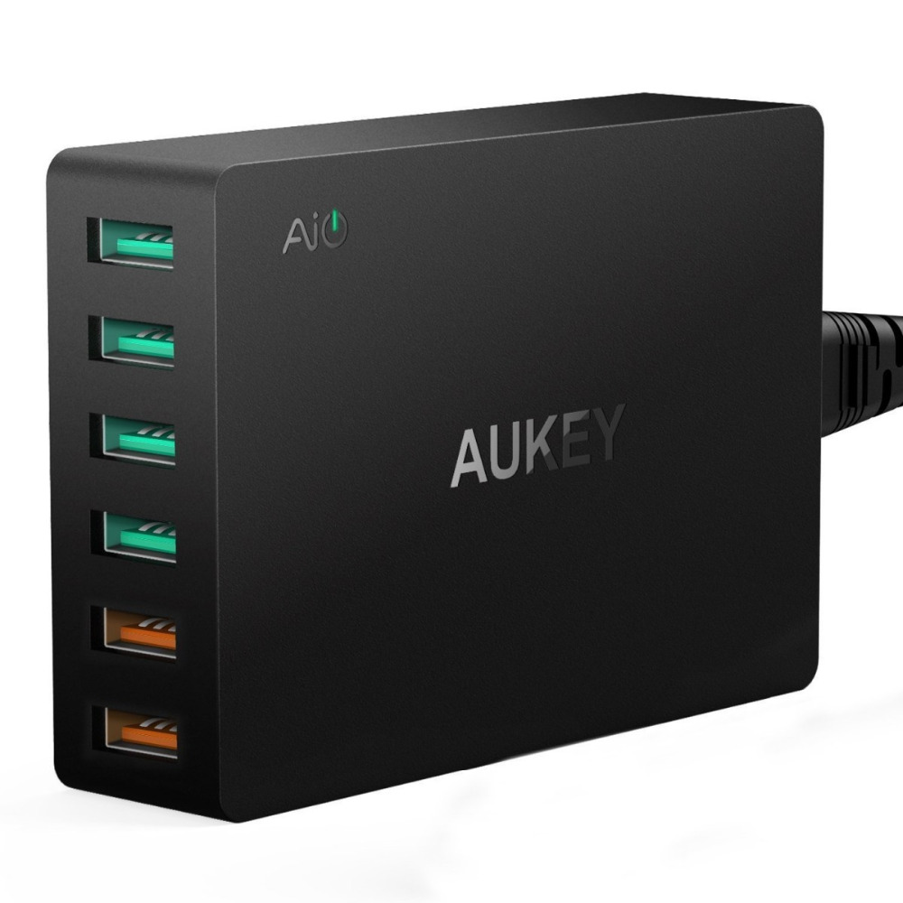 Aukey PA-T11 Quick Charge 3.0 6-Port USB Wall Charger for Samsung Galaxy S7/S6/Edge, LG G5, iPhone, Nexus 6P (US/EU)