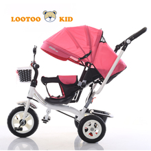 Shock absorption air tire push tricycle wholesale / trike pink baby 3 tyre cycle / 3 years children toys load tricycle for kids