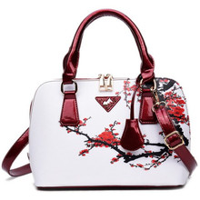 Hotsale PU Leather Pendant Flower Printed Tote Bags For Ladies