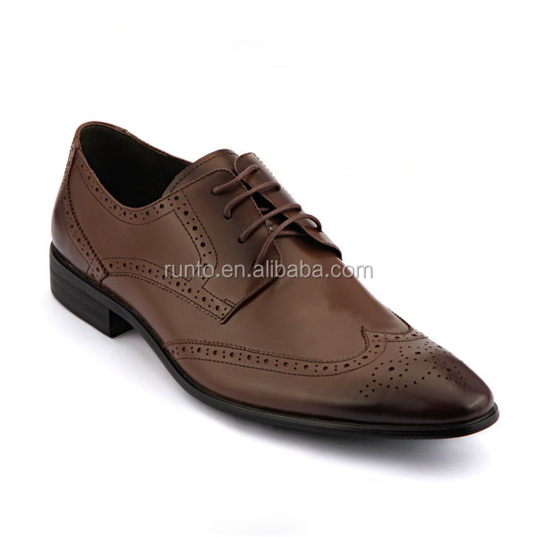 Brown genuine soft comfortable calf leather custom made Italian style men business dress shoes