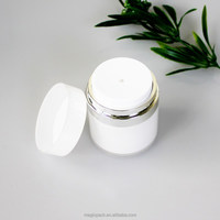 15ml 30ml 50ml white color airless cream pump jar cosmetic container