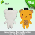 Sublimation PU leather keychain of Cute Teddy bear shape