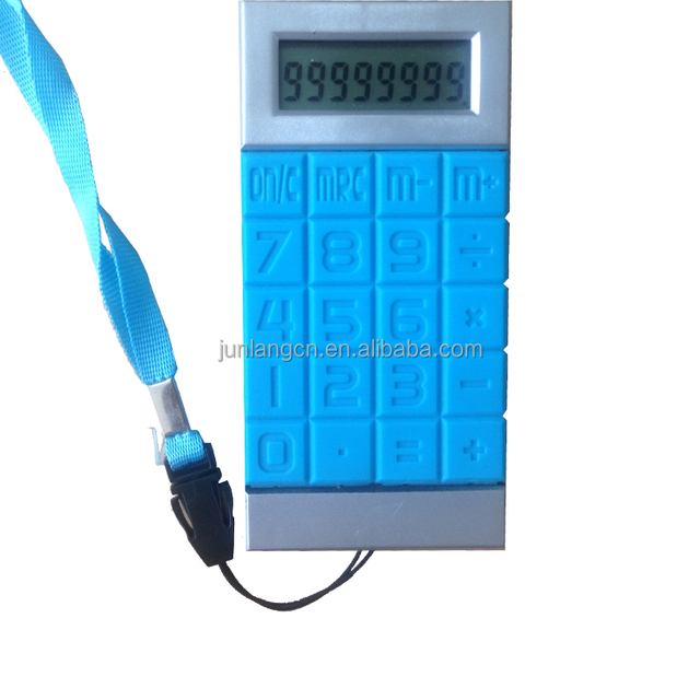 cheap 8 digit phone case silicone calculator with Rope Wire