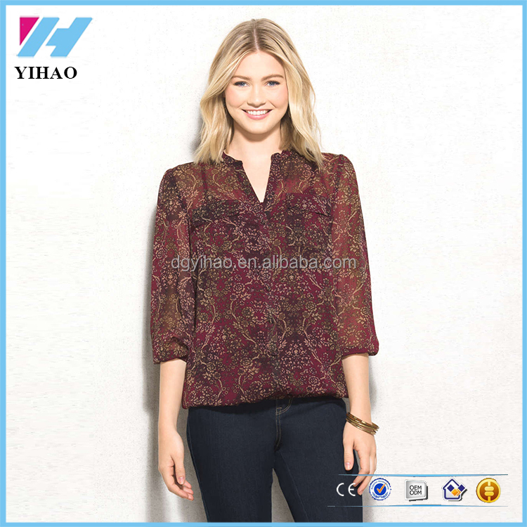 Ladies Fashion Clothing Printed Pocket Blouse & Top