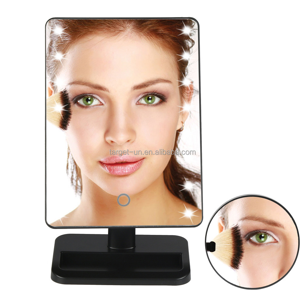 Lighted Makeup Mirror with 10X Magnification Suction Cup Pocket Mirror, Rectangle, USB and Battery Operated