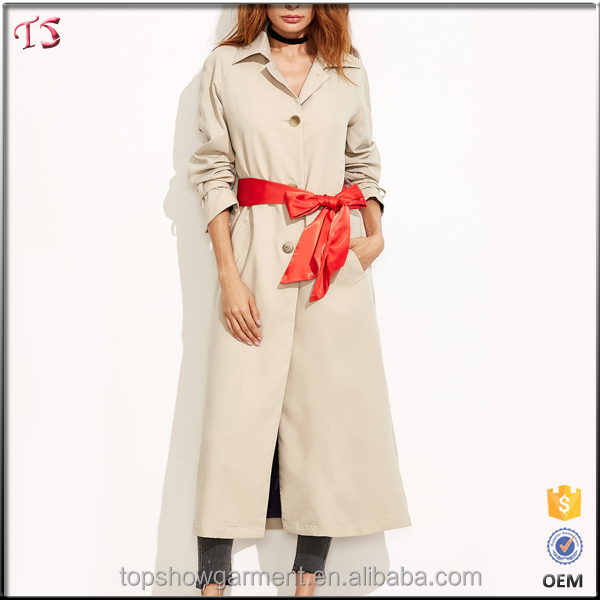 2017 Latest fashion designs long wind trench coat women with sash belt