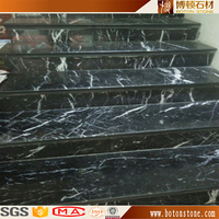 black marble tile with white veins , China absolute Black Marquina marble step for stairs