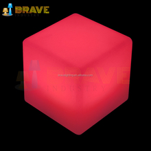 Light-colored RGB led cube stool Colorful cube furnished settle