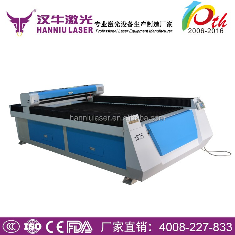 Hanniu PVC plastic plywood mdf acrylic stainless and carbon steel 1325 150w 260w laser cutting machine