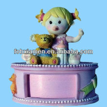 Beautiful Baby Girl Poly Resin Trinket Boxes