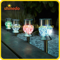 Outdoor Decorative Garden Color Changing Led Crystal RGB Solar Stainless Steel Lawn Lights