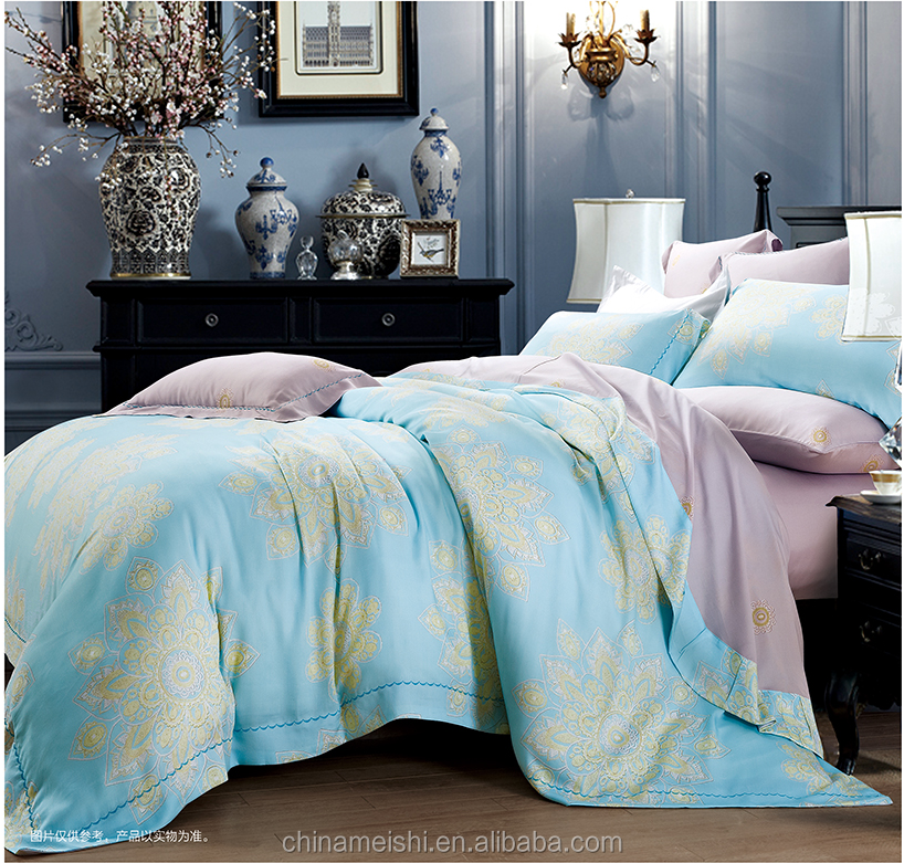 High quality 60s floral printed tencel bedding set duvet cover set