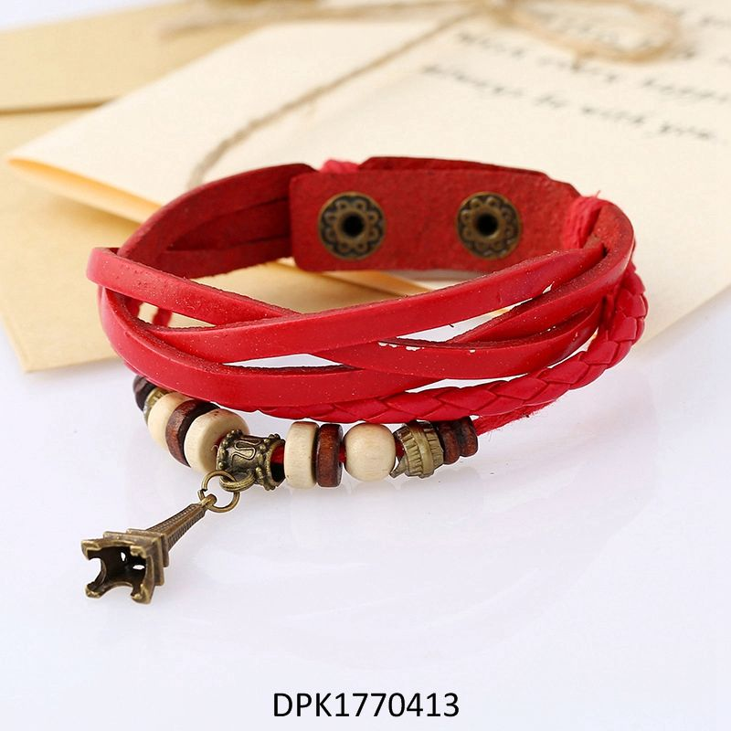 Personality all-match jewelry alloy ring leather bracelet male bangle best gift for