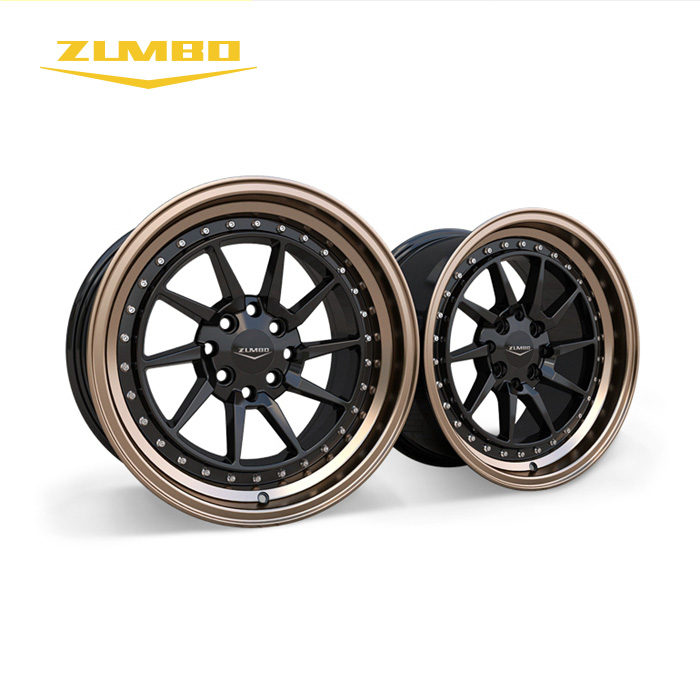 "ZUMBO_S0057 Black lip machined/bronze+chrome rivets Custom Made 16 inches alloy wheels 16"" Alloy Wheel for cars"