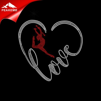 Custom Love dance Rhinestone Transfer Design Motifs T-shirt