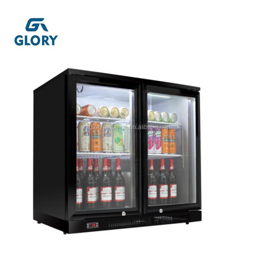2 Glass Door Mini Beer Bottle Commercial Refrigerator Display