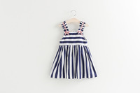 OEM Latest Fashion Cotton Short Sleeve Classic Stripes Baby Girls Birthday Summer Casual Dress ali343