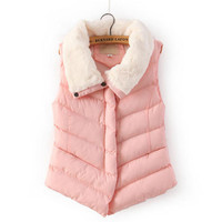W20026 white fur collar all matching cotton fashion pink sweet girl waistcoats