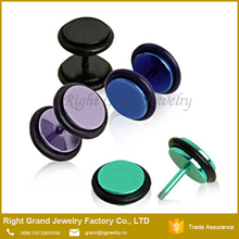 New designs IP Plated Color Body Jewelry Ear Piercing Fake Tunnel Earrings Fake Ear Plugs