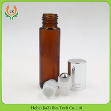 10ml glass vial roll on amber bottle with stainless steel roller and aluminum cap