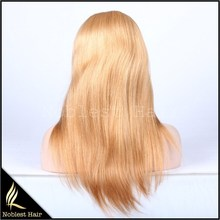 27# blonde light yaki straight chinese virgin hair full lace wigs with baby hair
