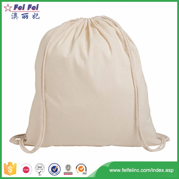 Backpack Bags Shopping Small Cotton Canvas Sack Drawstring Bag