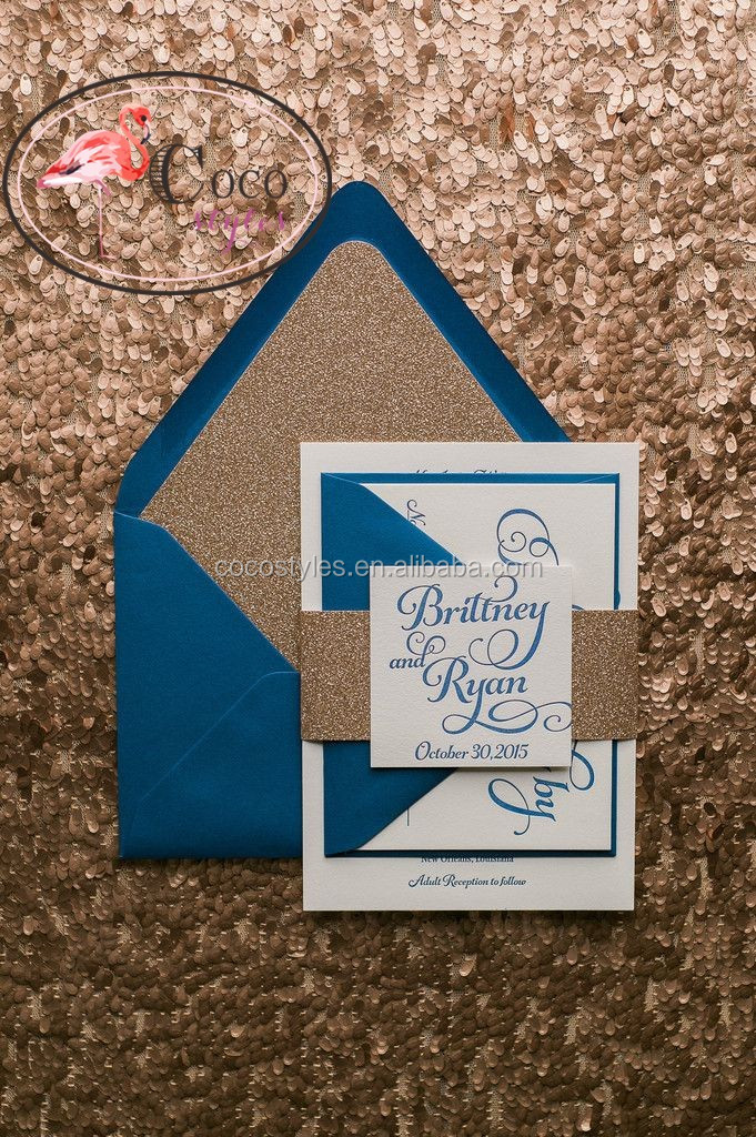 popular navy blue invitations with rose gold glitter