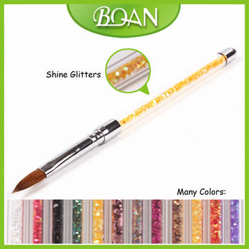Boqian Factory Direct Colorful Shine Glitters Kolinsky Acrylic Nail Brush