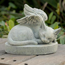 Garden decor antique lucky small carved stone figurines cat with wings figurine