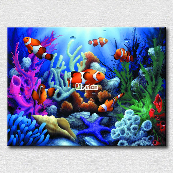 Printed canvas colorful fish art picture