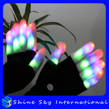White/Black Raver Gloves, 7 Modes, Multicolor, Red+Green+Blue LED Lights in each Fingertip, Adult Size