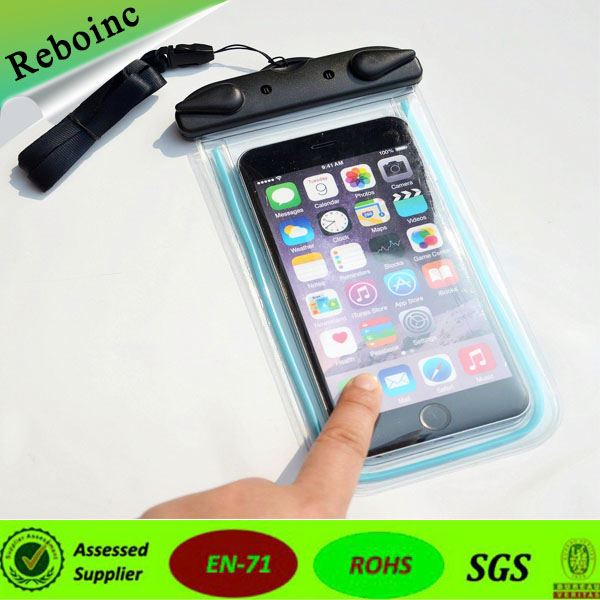 hot-selling PVC /TPU waterproof phone bags with sealed buttons for swimming diving fishing rafting