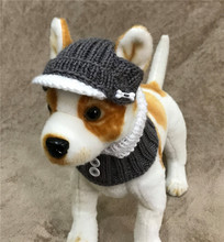 Pet Clothes Knit Visor Hat Bill Hat and Scarf Collar for Small Dog Hand Knitted pet hat