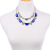 Droppshipping Hot Sell Jewelry Double Layered Statement Necklace Blue Crystal 20 Grams Gold Necklace Designs