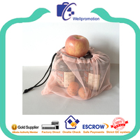 Reusable and recycled cotton mesh produce bag for fruits