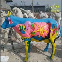 Shopping mall commercial pedestrian street sculpture glass steel resin painted animal cow bull