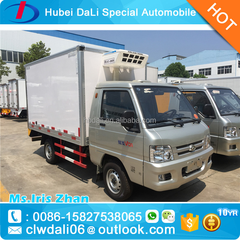1-2 tons 0~-18 degree centigrade Foton 4x2 mini refrigerated van for sale