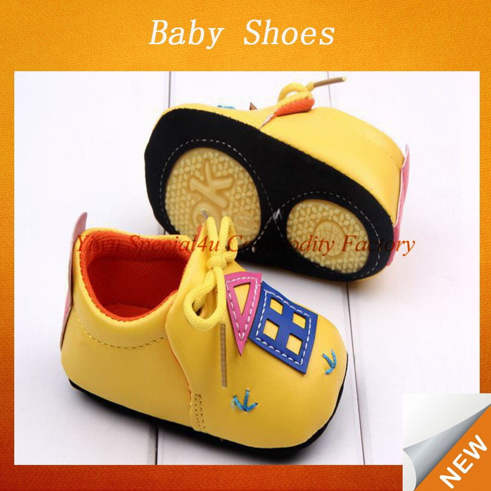 Small order quantity toddler baby shoes yellow cartoon fashion kids party shoes SFBS-0074