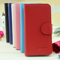 Small MOQ Wholesale Lychee Grain Wallet Flip Leather Cover Case for BlackBerry 9790