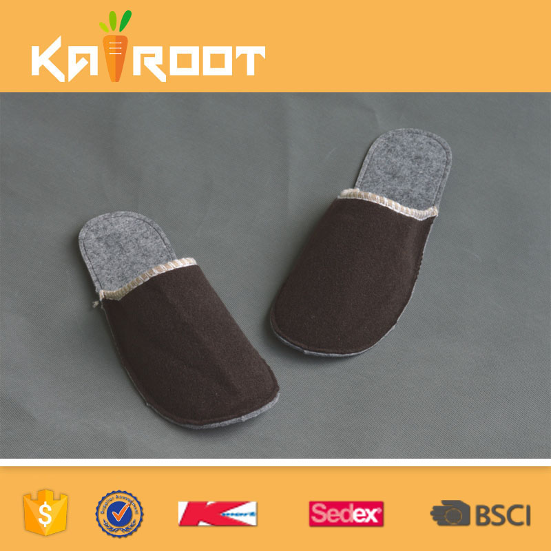 high quality new design wool felt winter home slippers
